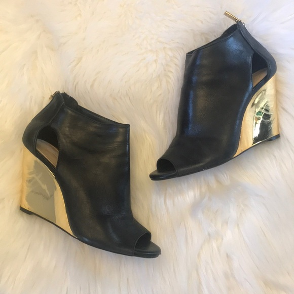 3ac0e4b4f52f4 Jessica Simpson Shoes | Js Marquise Black Leather Gold Wedge Bootie ...